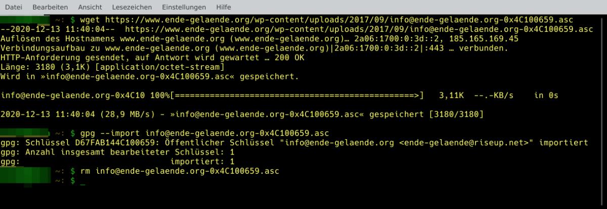 Download und import von GNUPG-Publickey